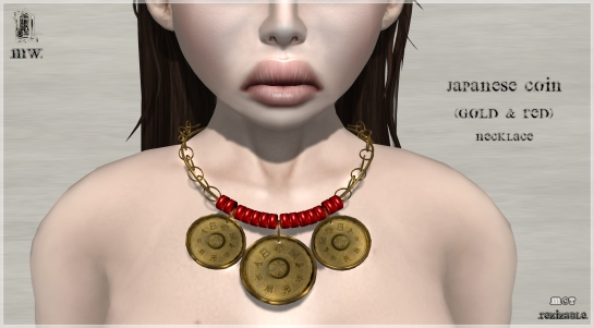 MiWardrobe - Japanese Coin - Gold & Red - Necklace - P