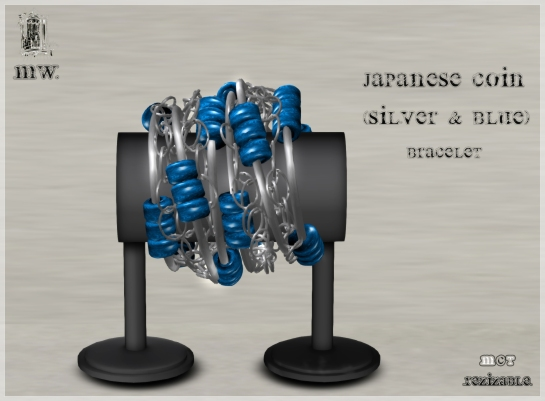 MiWardrobe - Japanese Coin - Silver & Blue - Bracelet - P