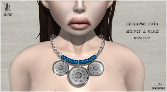 MiWardrobe - Japanese Coin - Silver & Blue - Necklace - P