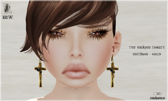 MiWardrobe - The Unique Rosary - Earrings - Gold - P