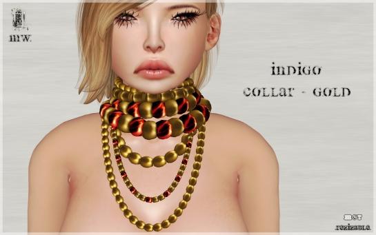 MiWardrobe - Indigo - Collar - Gold - P