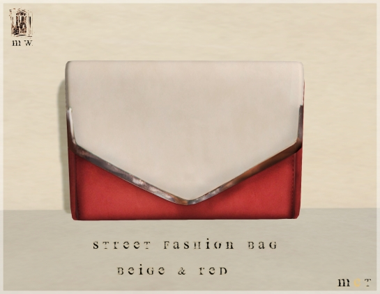 MiWardrobe - Street Fashion - Bag - Beige & Red - P