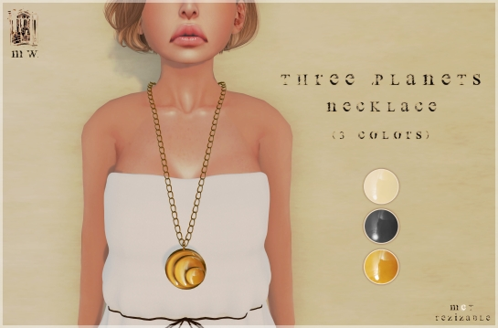 MiWardrobe - Three Planets - Necklace (Beige-Orange-Black) - P