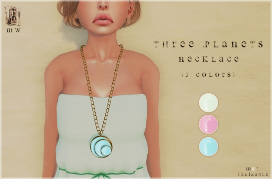 MiWardrobe - Three Planets - Necklace (Light Green-Pink-Sky) - P