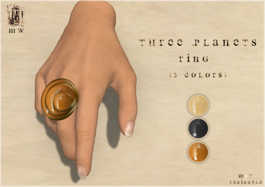 MiWardrobe - Three Planets - Ring (Beige-Orange-Black) - P