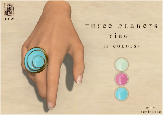 MiWardrobe - Three Planets - Ring (Light Green-Pink-Sky) - P