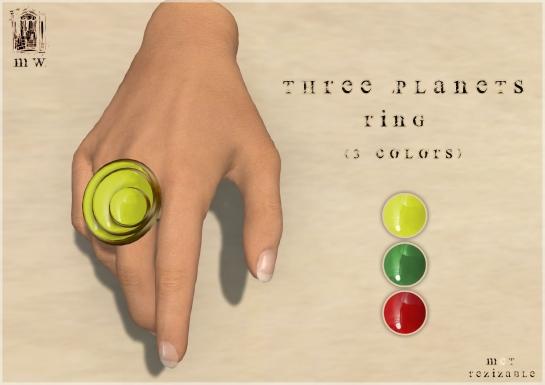 MiWardrobe - Three Planets - Ring (Yellow-Green-Red) - P