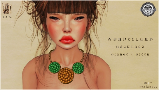 MiWardrobe - Wonderland - Necklace - Orange-Green - P