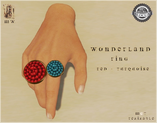 MiWardrobe - Wonderland - Ring - Red-Turquoise - P