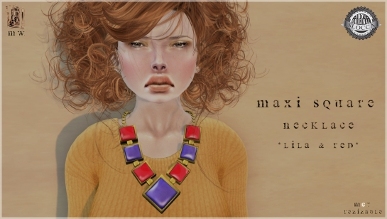 MiWardrobe - Maxi Square - Necklace - Lila & Red - MW - P