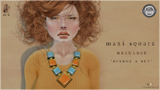 MiWardrobe - Maxi Square - Necklace - Orange & Sky - MW - P