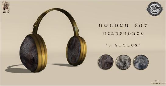 MiWardrobe - Golden Fur Headphones - 3 Styles (1-2-3) - MW - P