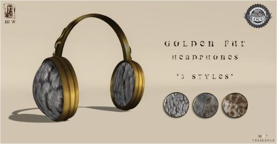 MiWardrobe - Golden Fur Headphones - 3 Styles (4-5-6) - MW - P