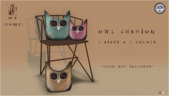 MiWardrobe {Home} - Owl Cushion - Pack 1 - MW {H} - P