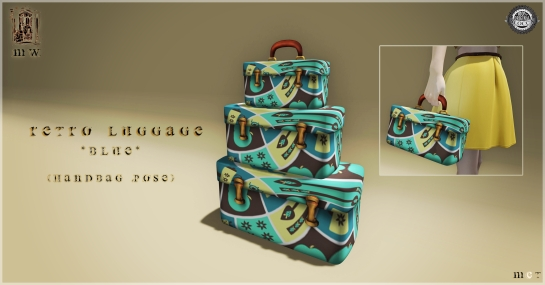 MiWardrobe - Retro Luggage & Handbag - Blue - MW - P