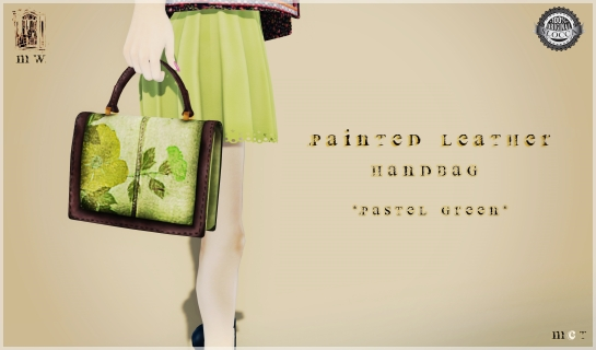 MiWardrobe - Leather Painted Handbag - Pastel Green - MW - P